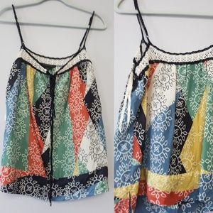 BCBG MaxAzria 100% Silk Print Top Cami Size S